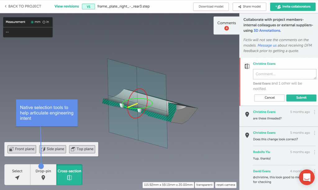 Collaborative design tools on the Fictiv platform. Image via Fictiv.