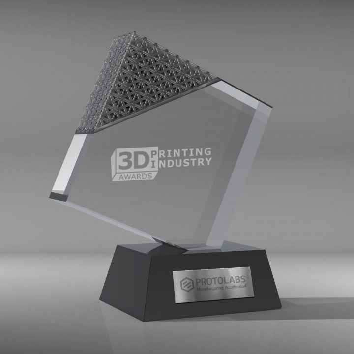 David Kittle 3D Printing Industry Awards 2018 trophy competition entry.