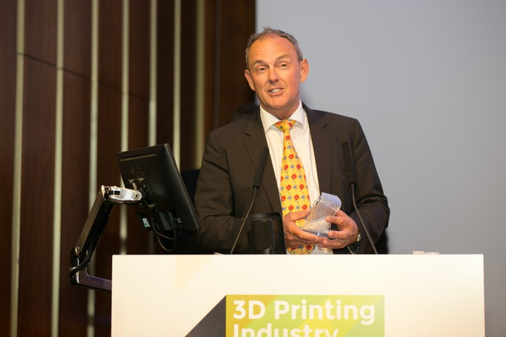 Dean Franks, Autodesk, Head of Global Sales, Additive Manufacturing collects the 2018 3D Printing Industry Award for 3D Software of the Year.