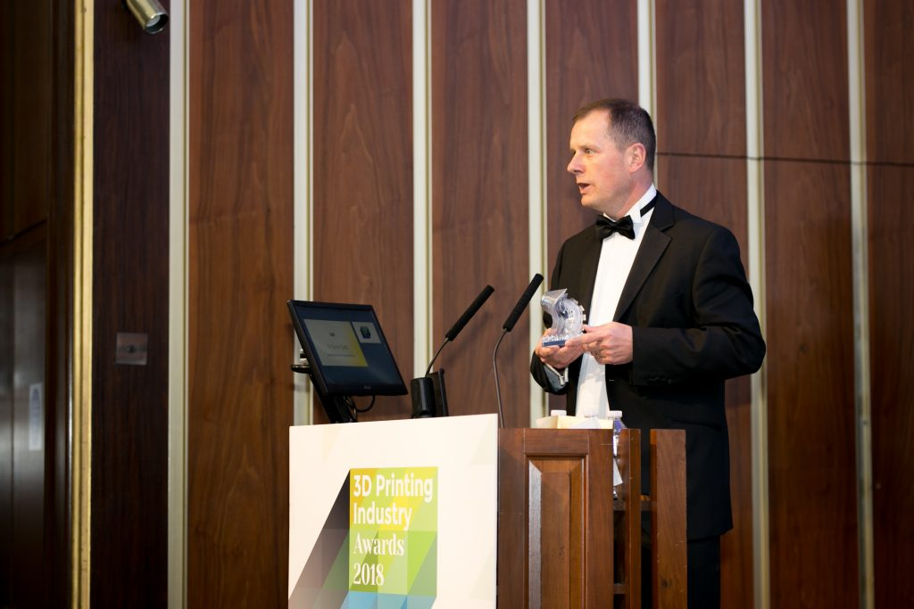 Dr Darren Budd, Commercial Director UK & Ireland, BASF plc collecting the award for Material Company of the Year.