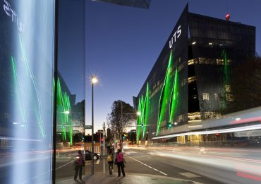 UTS Building 11, exterior by night from Central Park. Photo by Andrew Worssam