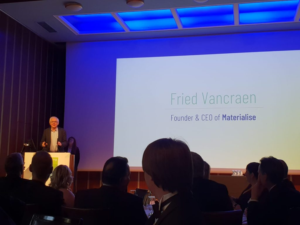 Fried Vancraen Founder and CEO at Materialise accepts the 2018 3D Printing Industry Award for Outstanding Contribution to 3D Printing.