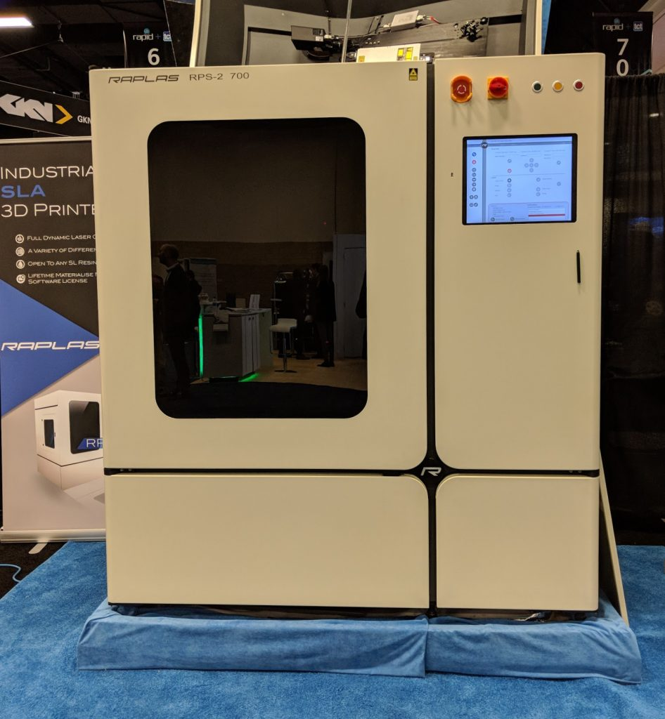 Raplas RPS-2 700 SLA printer on display at RAPID+TCT 2018. Photo by Dayton Horvath.