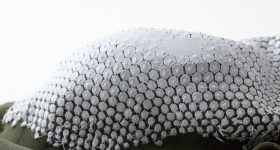 Self-forming structures made by 3D printing on stretched fabric. Photo via Nervous System.