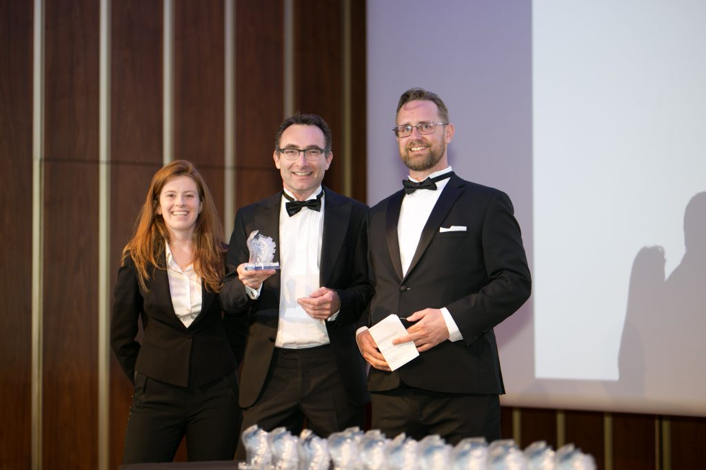 Siert Wijnia, CTO and Co-Founder at Ultimaker collecting the 2018 3D Printing Industry Award.