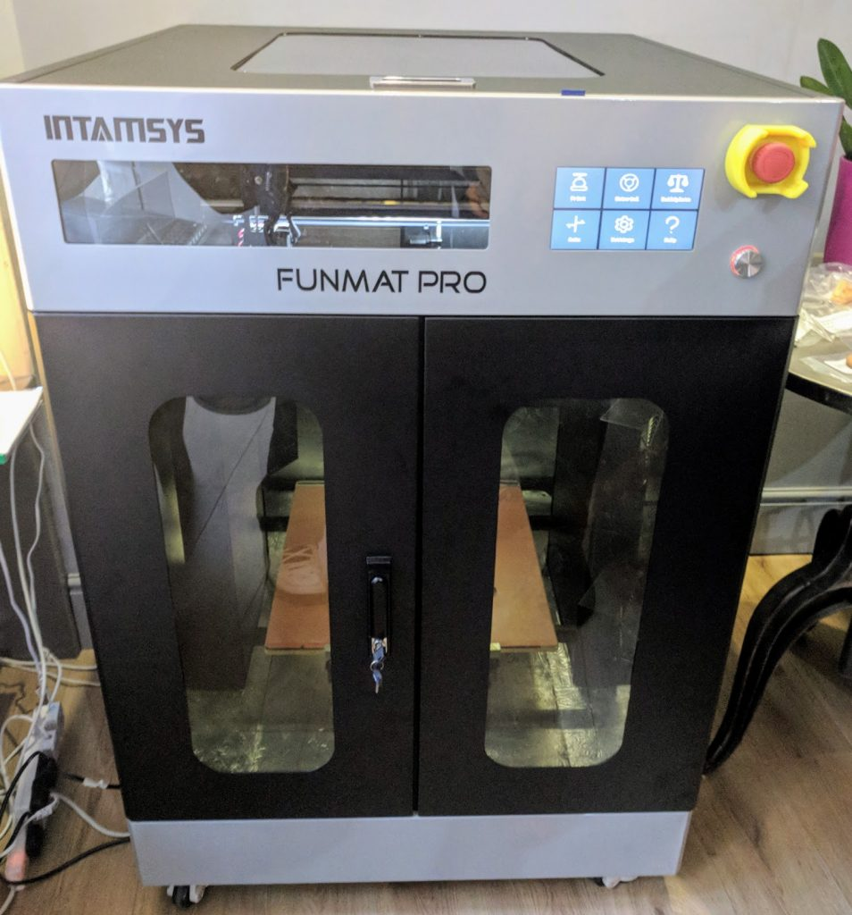 The INTAMSYS Funmat PRO offers 3D printing with higher grade thermoplastics and a larger build chamber. Photo by Michael Petch