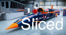 Sliced logo over the Bloodhound Super Sonic Car. Original photo via Autoexpress