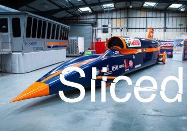 Sliced logo over the Bloodhound Super Sonic Car. Original photo via Autoexpress