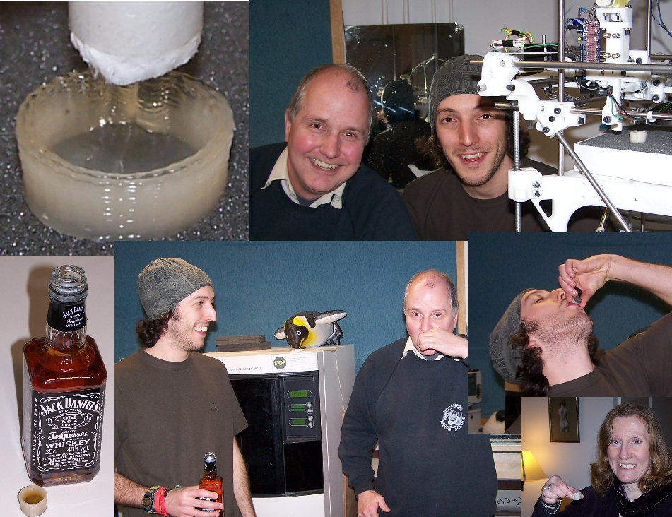 Dr. Adrian Bowyer and Ed Sells with the process to make the first Darwin 3D printed shot glass. Photo via Adrian Bowyer