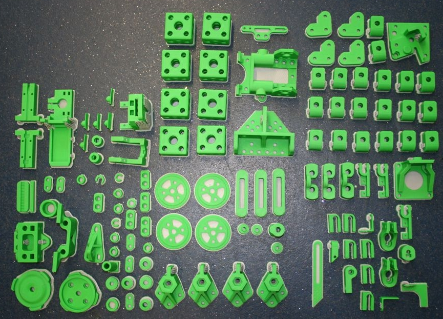 3D printed parts for the first Darwin RepRap. Photo via Adrian Bowyer