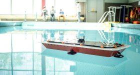 A prototype MIT Roboat. Photo via MIT