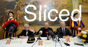 Sliced logo over presentation of the Swiss Guard's 3D printed helmet. Original photo via Guardia Svizzera Pontificia