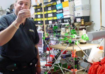 Vik Olliver and his RepRap 3D printer. Photo via Vik Olliver.