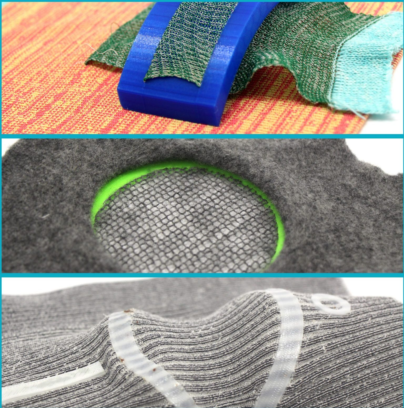 Creating the 3D printed meshes on knitted fabric. Image via Lingxiao Luo.