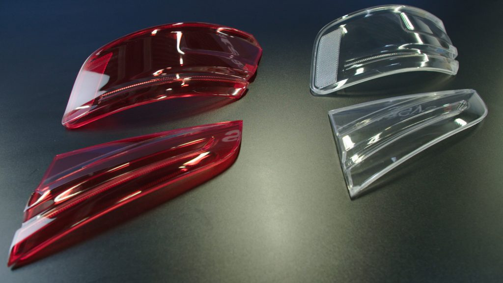 Transparent red, and clear 3D printed Audi tail lights. Photo via Stratasys