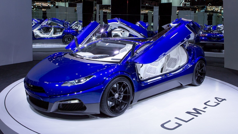 The GLM-G4 electric supercar at the 2016 Paris Auto Show. Photo via PRNewsFoto/GLM Press Office