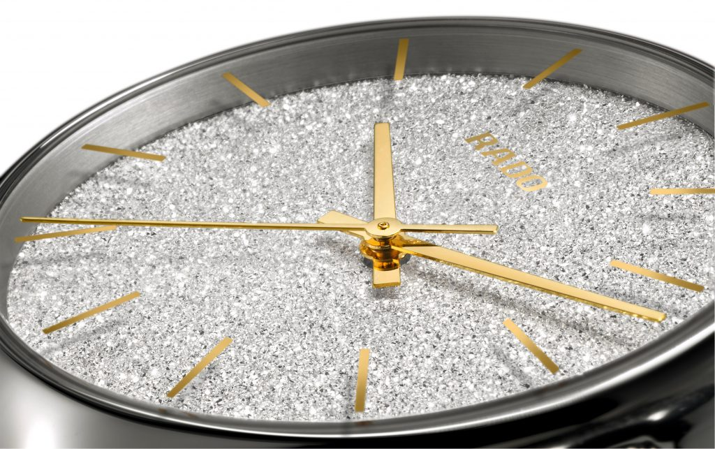 The True Blaze sparkling watch face, made by galvanic growth. Image via Rado