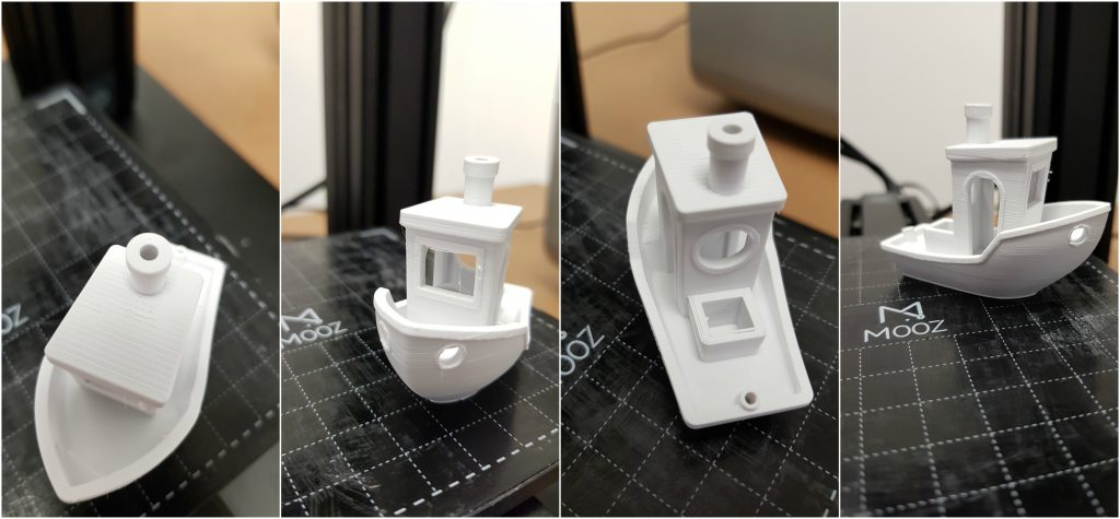 Views of the test 3D printed Benchy with minimal stringing on the windows.