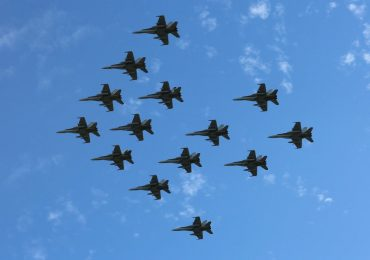 A fleet of the Royal Australian Air Force's fighter jets flying in formation. Photo via Aus_AirForce on Twitter