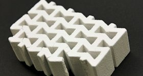 A 3D printed gypsum brick. Photo via Talk Business/ University of Arkansas