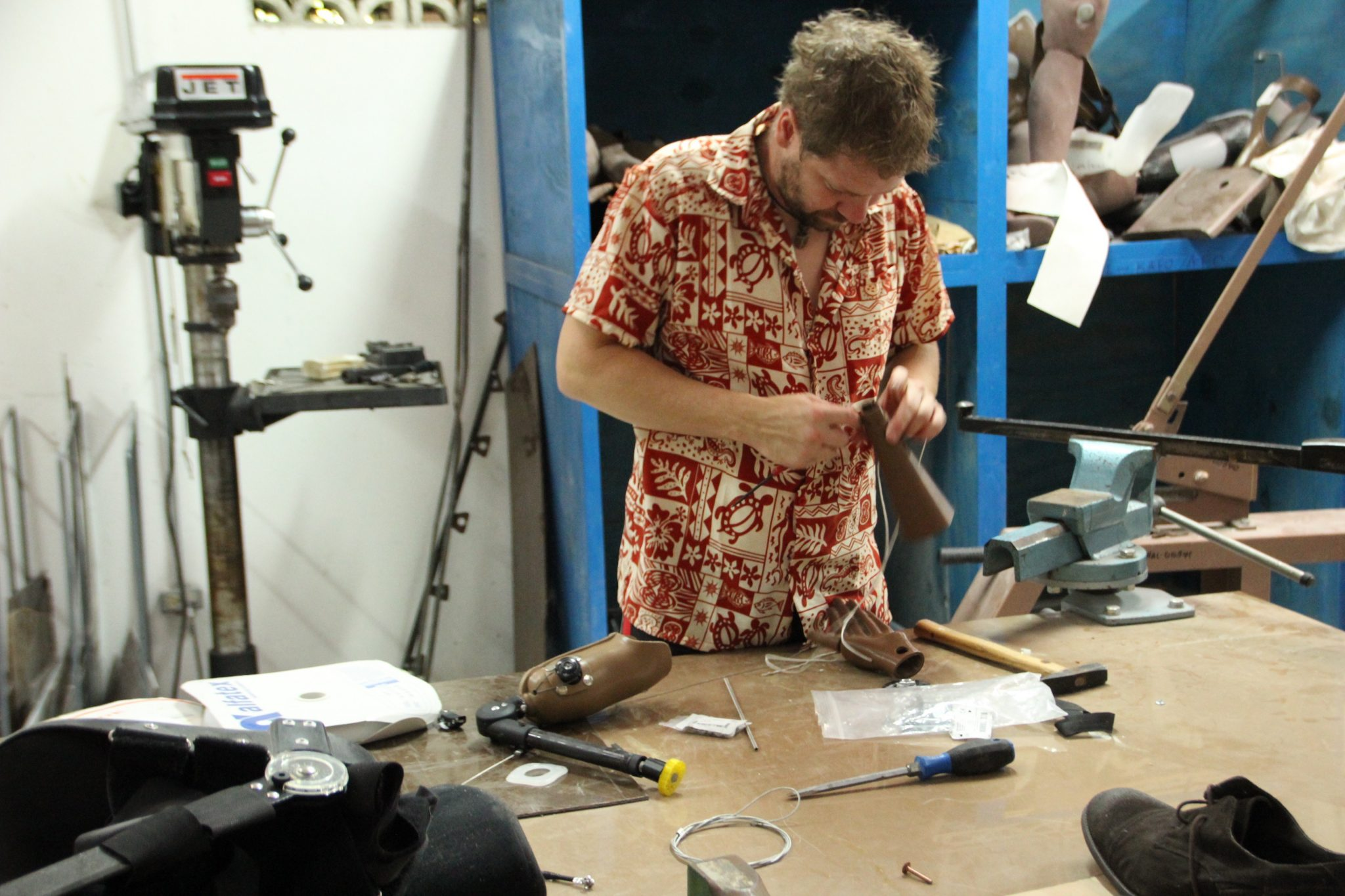 Jeff Erenstone, Founder of Create O&P, constructing 3D printed prosthetics. Photo via Create O&P.