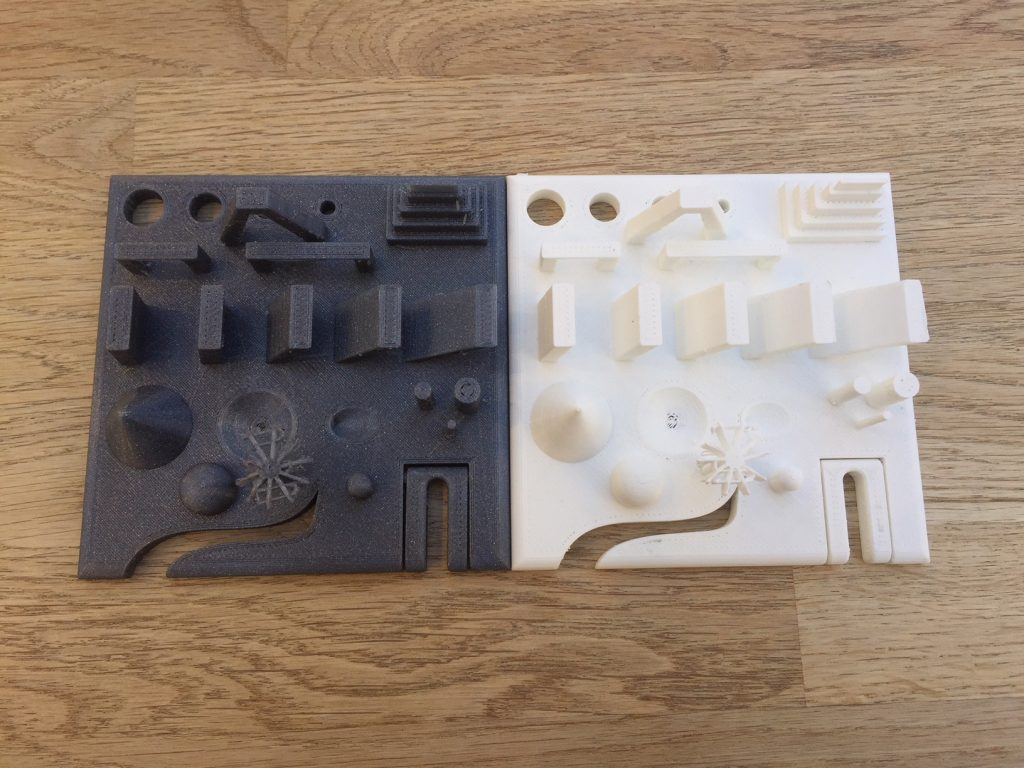 Fiberlogy PET-G 3D printed Torture Test (Vertigo, left) vs. Easy PLA (white, right)