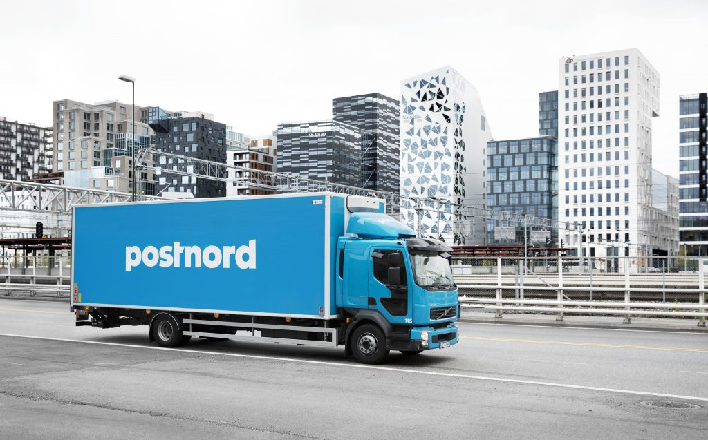 A PostNord delivery truck. Photo via PostNord Strålfors