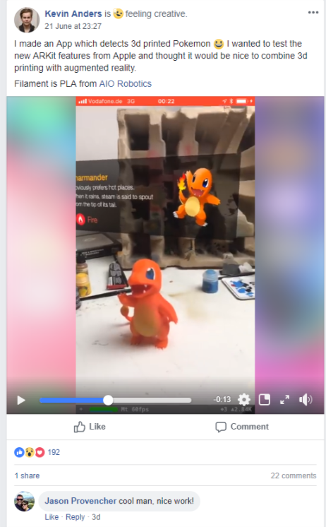 Kevin Anders App for detecting 3D printed Pokemon. Image via 3D Printing Group on Facebook.
