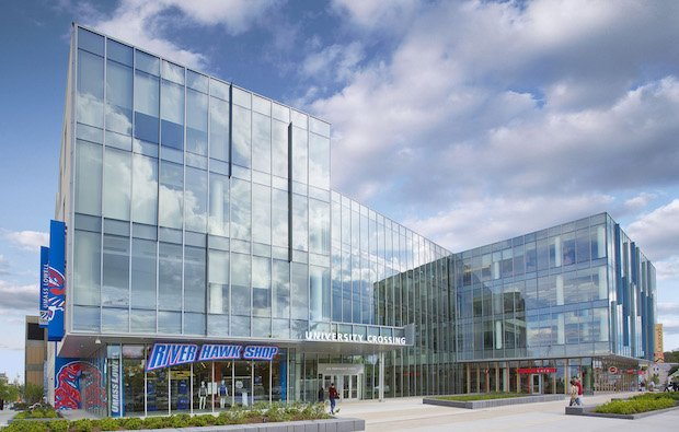 The UMass Lowell University Crossing student center in Massachusetts. Photo via UMass.