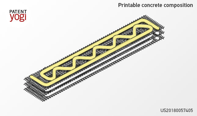 Depiction of USACE's printable concrete composite. Image via Patent Yogi.