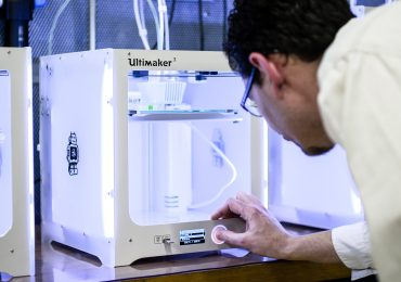 Ultimaker 3 3D printers. Photo via Ultimaker