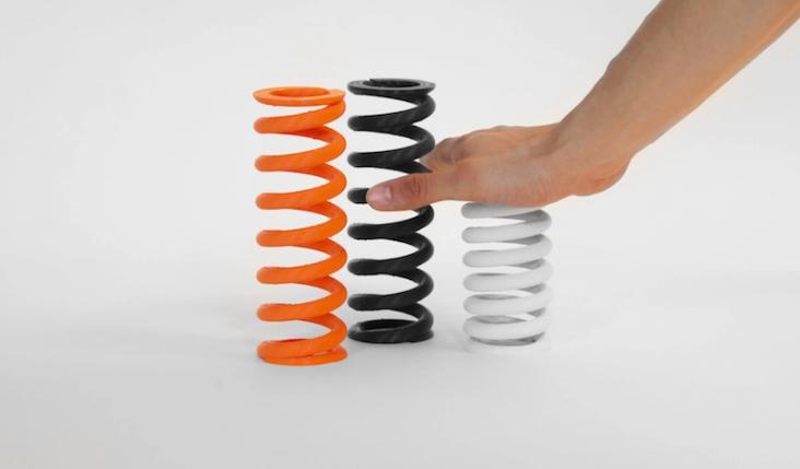 MakerBot Tough filament springs. Photo via MakerBot.