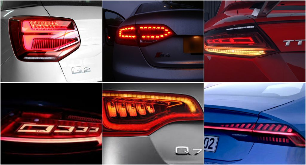 Evolution of Audi tail lights. Photos via Audi
