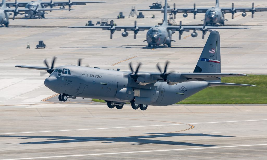 A Lockheed Martin CC-130J Super Hercules aircraft. Photo via Fifty Sky Shades