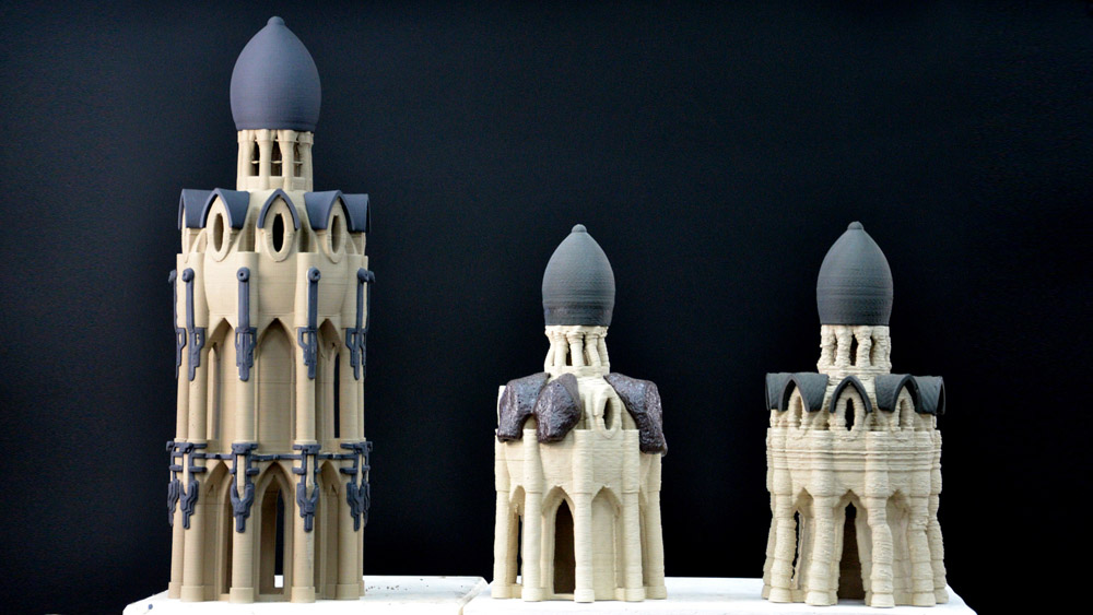Ceramic chapel structures 3D printed (from left to right) on the LUTUM V4, V3 and V2. Photo via VormVrij