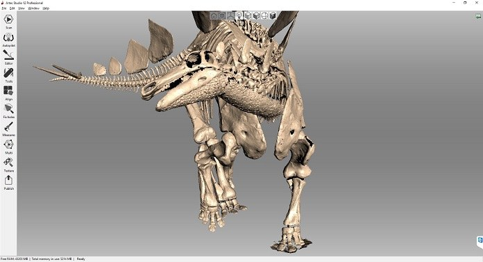 3D scan of a stegosaurus. Image via Triebold Paleontology, Inc./Artec 3D