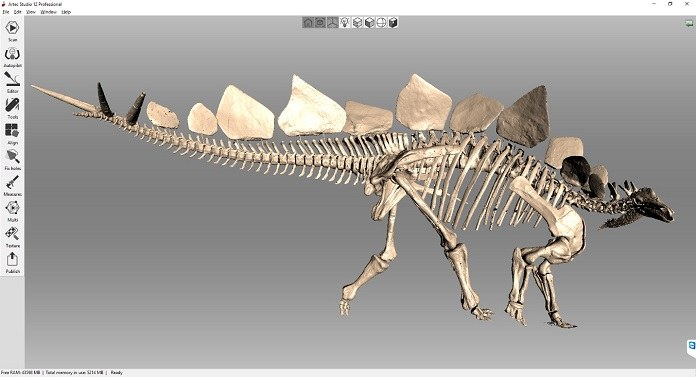 Complete digital model of the Denver Museum of Nature & Science;s stegosaurus. Image via Triebold Paleontology, Inc./Artec 3D