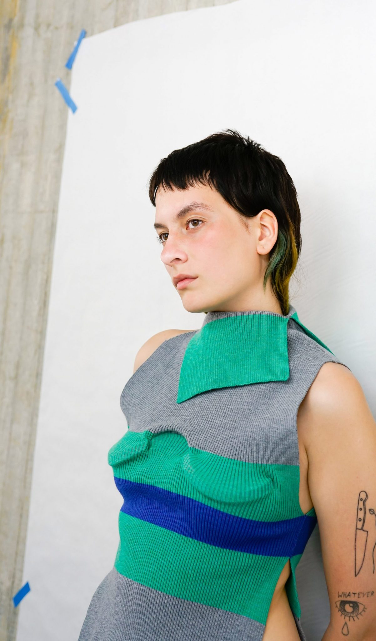 Sleeveless sweater created using 3D printing and fabrication techniques.Photo via RCA.