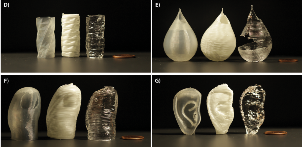 Objects 3D printed using the EGO method. Each object is shown in standard PLA (left), epoxy, (center) and PDMS (right). Image via PLOS One Journal/CMU