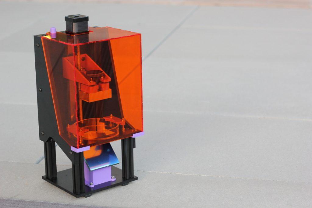 A LittleRP DLP 3D printer. Photo via think3D