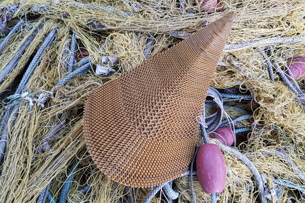 A 3D printed horn made from old fishing nets for the Second Nature project by The New Raw. Photo via the New Raw.