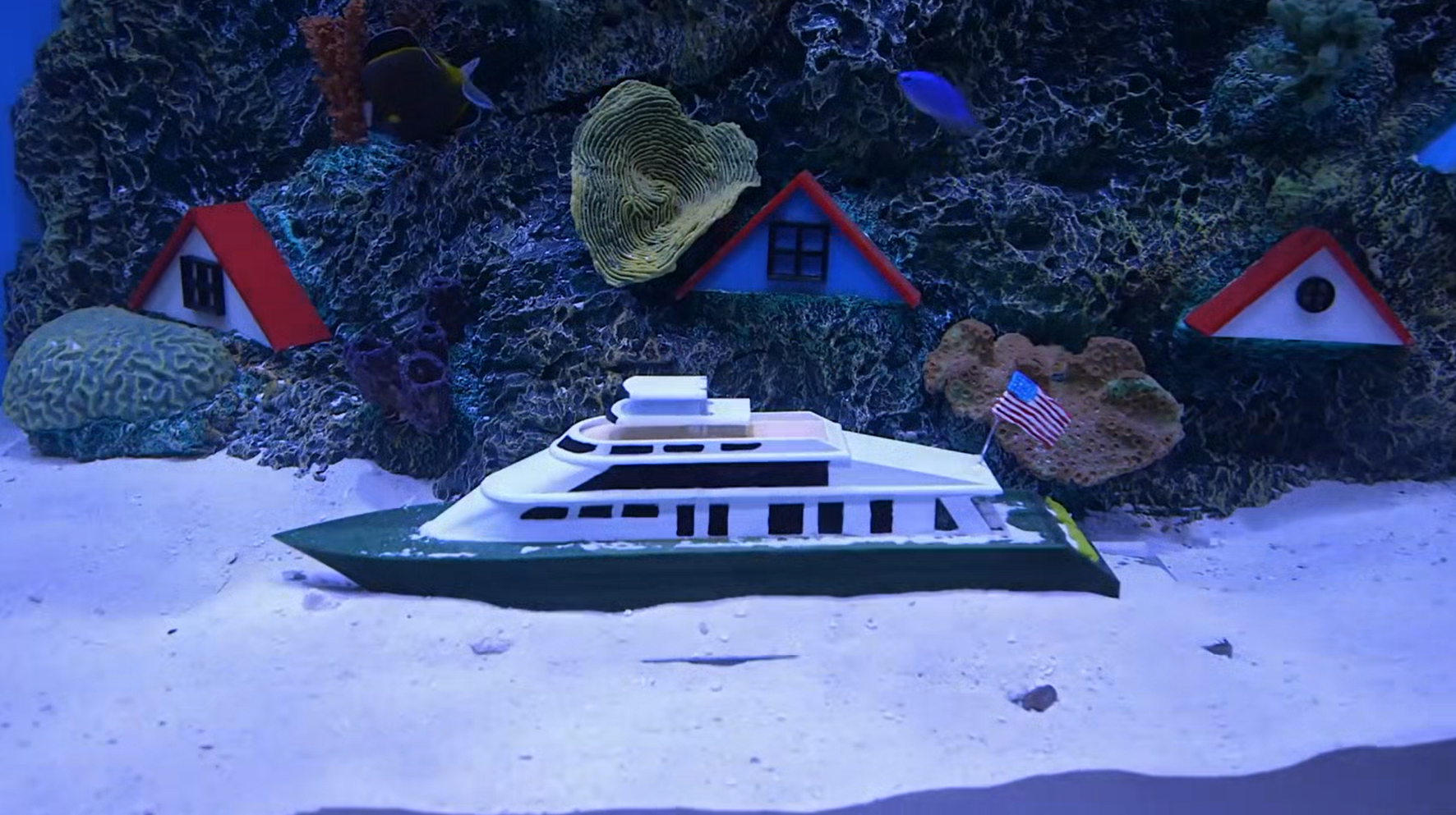 3D printed yacht in an aquarium created using a large format 3D printer. Image via Animal Planet.