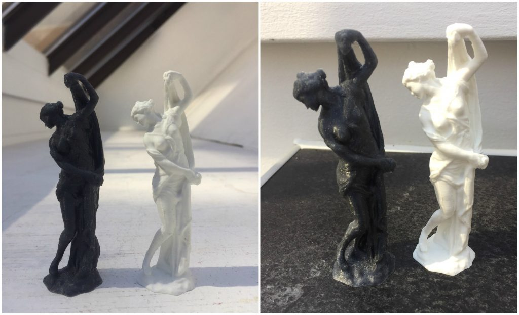 Venus Callipyge sculpture 3D printed in Vertigo PET-G and white Easy PLA.
