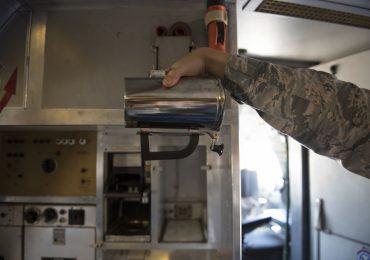 The original hot cup plastic handle. Photo via U.S. Air Force/Courtesy of Tech. Sgt. James Hodgman.
