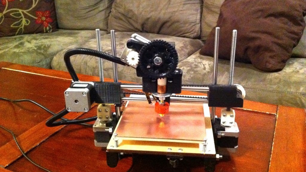 The first Printrbot 3D printer. Photo via Printrbot
