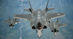 Three U.S. Air Force F-35, soaring above the clouds. Photo via U.S. Air Force