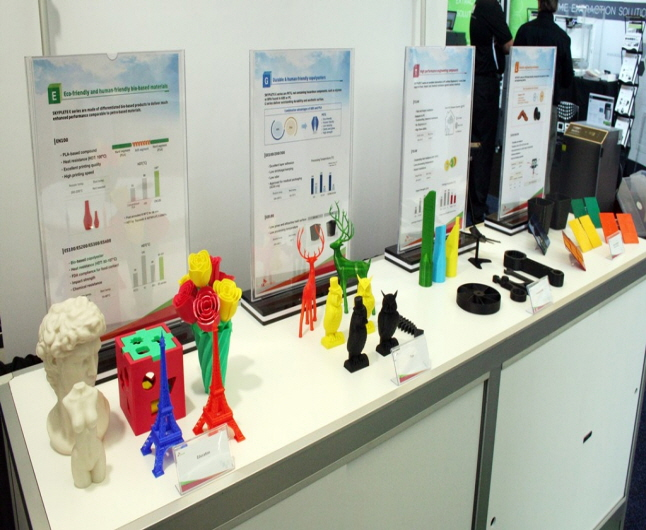 SKYPLETE materials used to make industrial prototypes, artworks, and educational materials on display at 2017 RAPID + TCT. Photo via SK Chemicals.