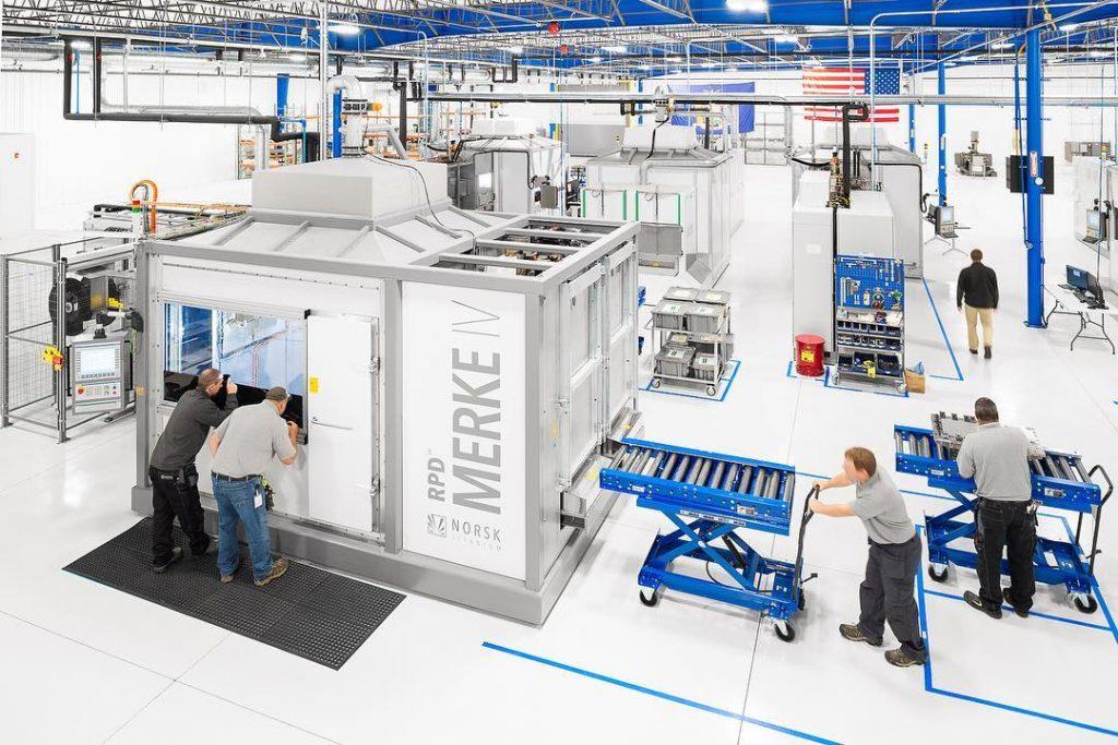 Production floor at Norsk Titanium PLattsburgh. Photo via Norsk Titanium