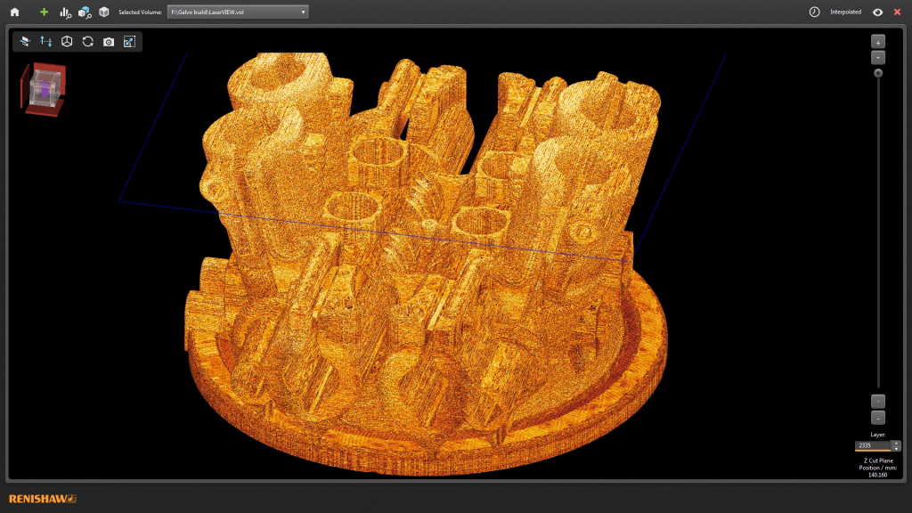 InfiniAM Spectral screen shot showing 3D data reveal. Image via Renishaw.