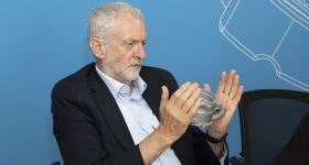 Jeremy Corbyn holds a 3D printed prototype at the Protolabs manufacturing facility in Telford. Photo via Protolabs.